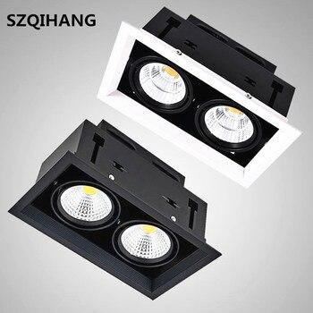 3 цвета 2*10 Вт/2*12 Вт/2*15 Вт утопленный светодиодный блок потолочный светильник двойная светодиодная COB решетка лампа супер яркая Bean галогенная... >> SZQIHANG Manufacturer Store