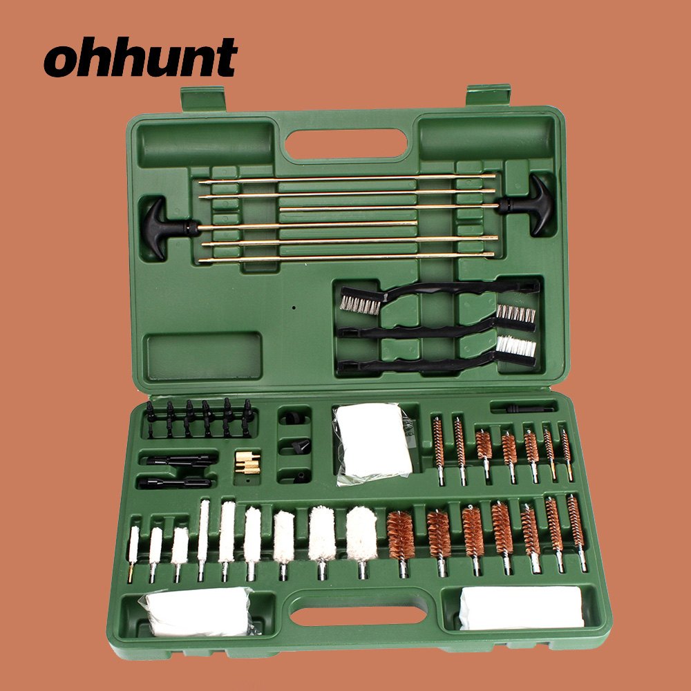ohhunt Hunting 62 Pieces Universal Gun Cleaning Kits Cotton and Copper Brush Cleaner for Rifle Pistol Rifle Accessories 62 piece tactical hunting universal gun cleaning kit supplies for rifle pistol shotgun free shipping