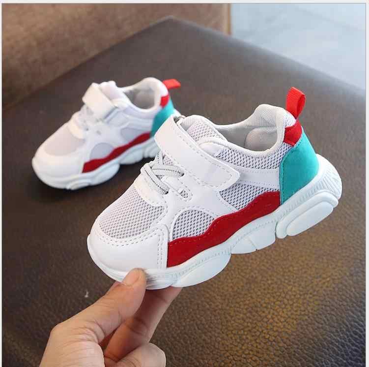 Детская спортивная обувь для мальчиков и девочек; сезон весна-осень; повседневная обувь для малышей; нескользящие дышащие мягкие кроссовки в стиле пэчворк; детская спортивная обувь
