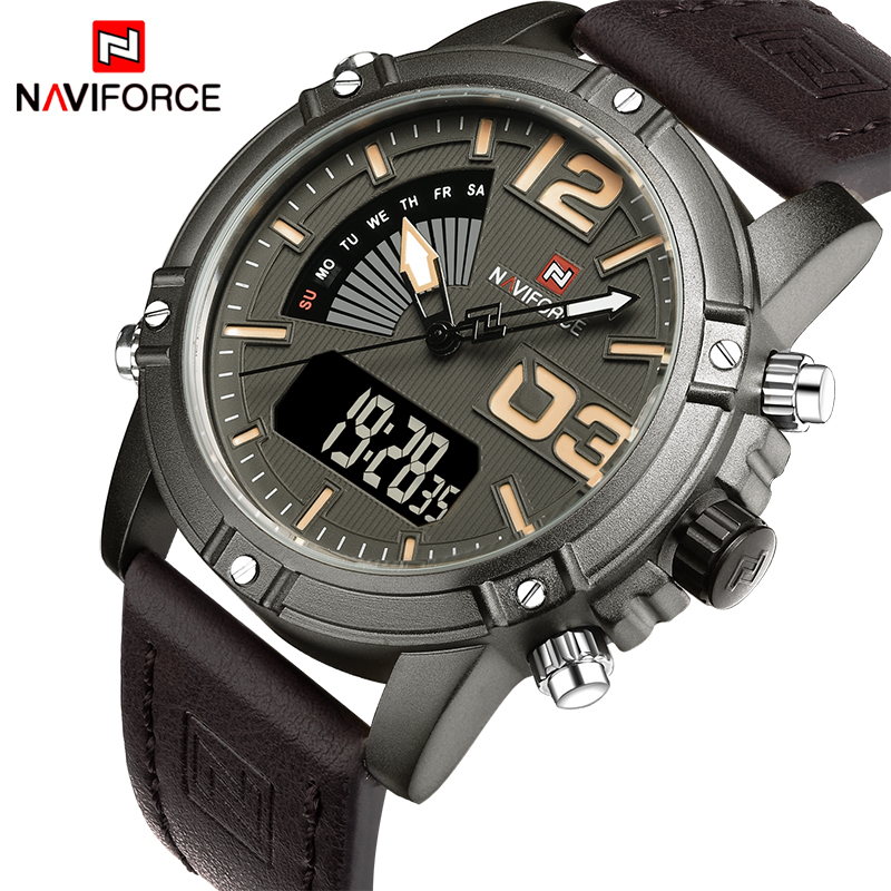 2017 New Luxury Brand NAVIFORCE Men Leather Military Watches Men's Quartz Analog Led Digital Sport Wrist Watch relogio masculino 2017 new luxury brand naviforce watches men leather quartz digital watch man fashion military casual sports wrist watch relogio
