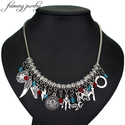 feimeng jewelry Percy Jackson Choker Necklace Simple Crystal Beads Sea of Monsters Themed Alloy Necklace For Women Fashion Gifts