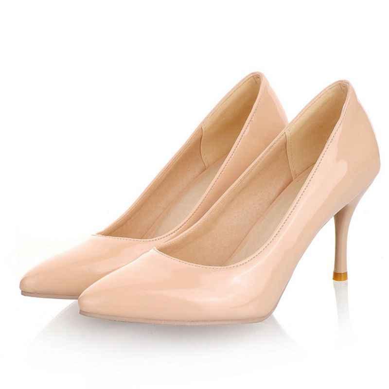 בתוספת גודל גדול 34-47 הגעה חדשה 2017 אישה נעלי חתונה גבירותיי שמלת מתוקה אופנה העקב גבוה נשים הבוהן מחודדות משאבות A-3