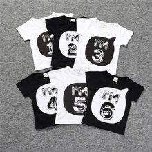 2018 Number Letter Boys Print T Shirt For Kids Summer Shirts Baby Boy Funny Birthday Casual Tops