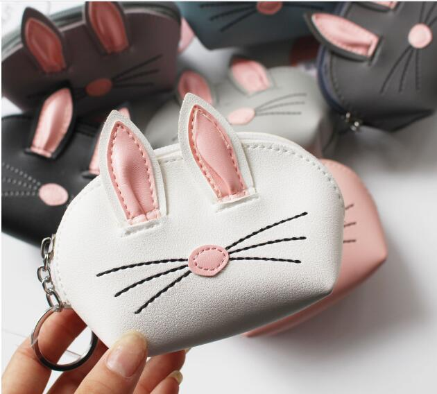10 PCS New Personality Cartoon Three-dimensional Rabbit Ears Purse Lady Cute Small Wallet Storage Bag Key Chain Coin Pouch new