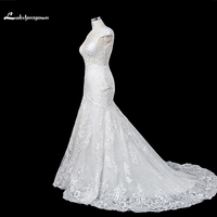 Modest Appliques Scoop Mermaid Wedding Dresses 2018 White Ivory Court Train Wedding Gowns Custom Made Robe
