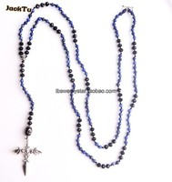 2016 new design Sodalite and black beads long silver cross necklace