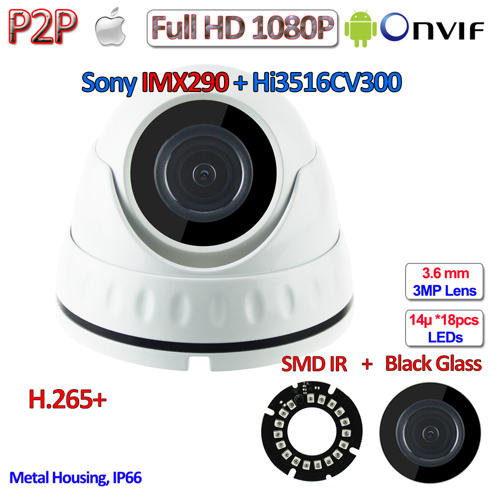H.265 H.265+ 1080P IP Mini Camera IMX290 2.0MP Hisilicon Night Vision Camara IP Onvif 2.4 with 3MP HD Lens, WDR, H.264, P2P hd 1 3mp ip camera module 960p cctv pcb main board irc onvif h 264 hisilicon 3 6mm 3mp lens ir cut