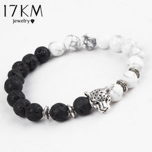 17KM Fashion White and Black Leopard Charm Bracelet Silver Color Stone Buddha Bracelet Lava Matte Women Bracelets Pulsera 2016(China)