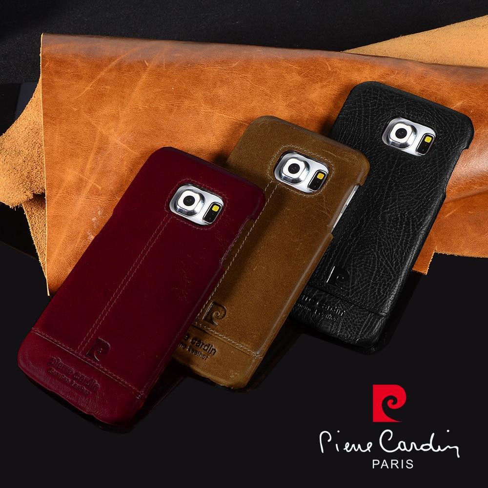 imágenes para Pierre Cardin Cuero Genuino 2016 de Lujo de Los Teléfonos Celulares Caso Para Samsung Galaxy S7/S7 S6 edge/S6edge plus S8 S8 Más Atrás cubierta