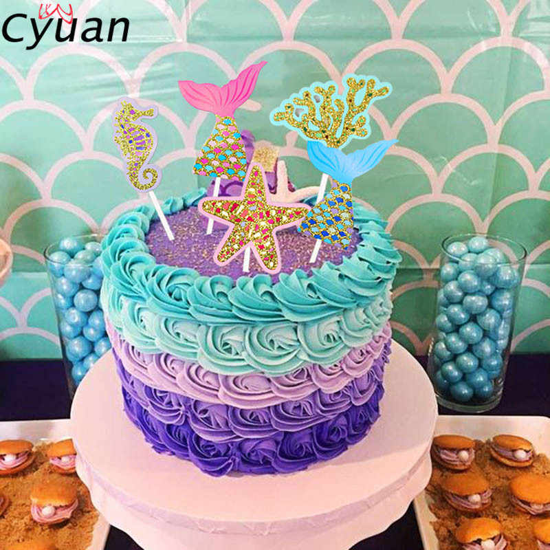 Cyuan Birthday Party Mermaid Theme Cake Topper Under The Sea Girl Decorating Flags Kids Favor Cupcake