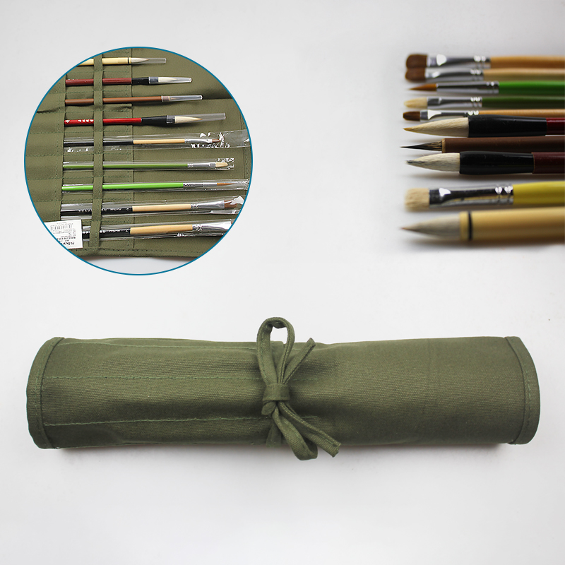Multifunction 22/30 Holes Pencil Bag Roll Up Portable Canvas Wrap Pouch Case striped wrap pencil bag
