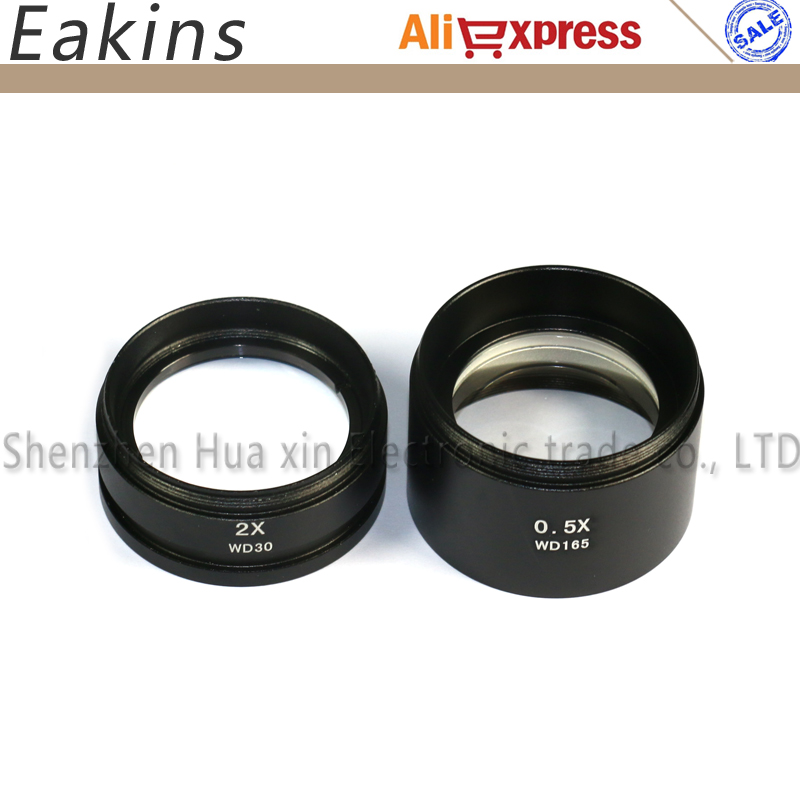 2pcs/set Microscope Accessoires 0.5X/WD165mm & 2.0X/WD30 Auxiliary objectives lens for Stereo Microscope lucky zoom brand szm2 0x auxiliary objectives lens for stereo zoom microscope szm7045 microscope accessoires wd30mm