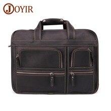 JOYIR Genuine Leather Mens Briefcase Upgrade Man Crazy Horse Large Capacity Men Retro Crossbody Shoulder Bag