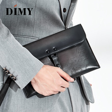 DIMY Vintage Style All-In-One Envelope Genuine Leather Clutch Bag Luxury Men Day Male Buckle Handbags Handmade Patina NEW
