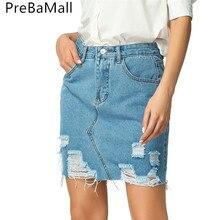 цены Ripped Frayed Denim Skirt Women Summer Sexy Mini High Waist Blue Jean Skirt Female Fashion Plain Skirts For Women C213