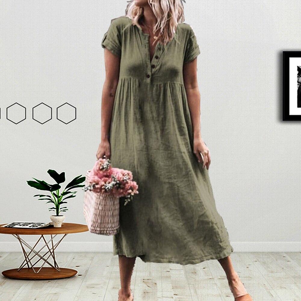 Plus Size Long Dresses Casual Cotton Linen Sleeveless V-neck Solid Sundress Women 2019 Summer Pleated Beach Dress