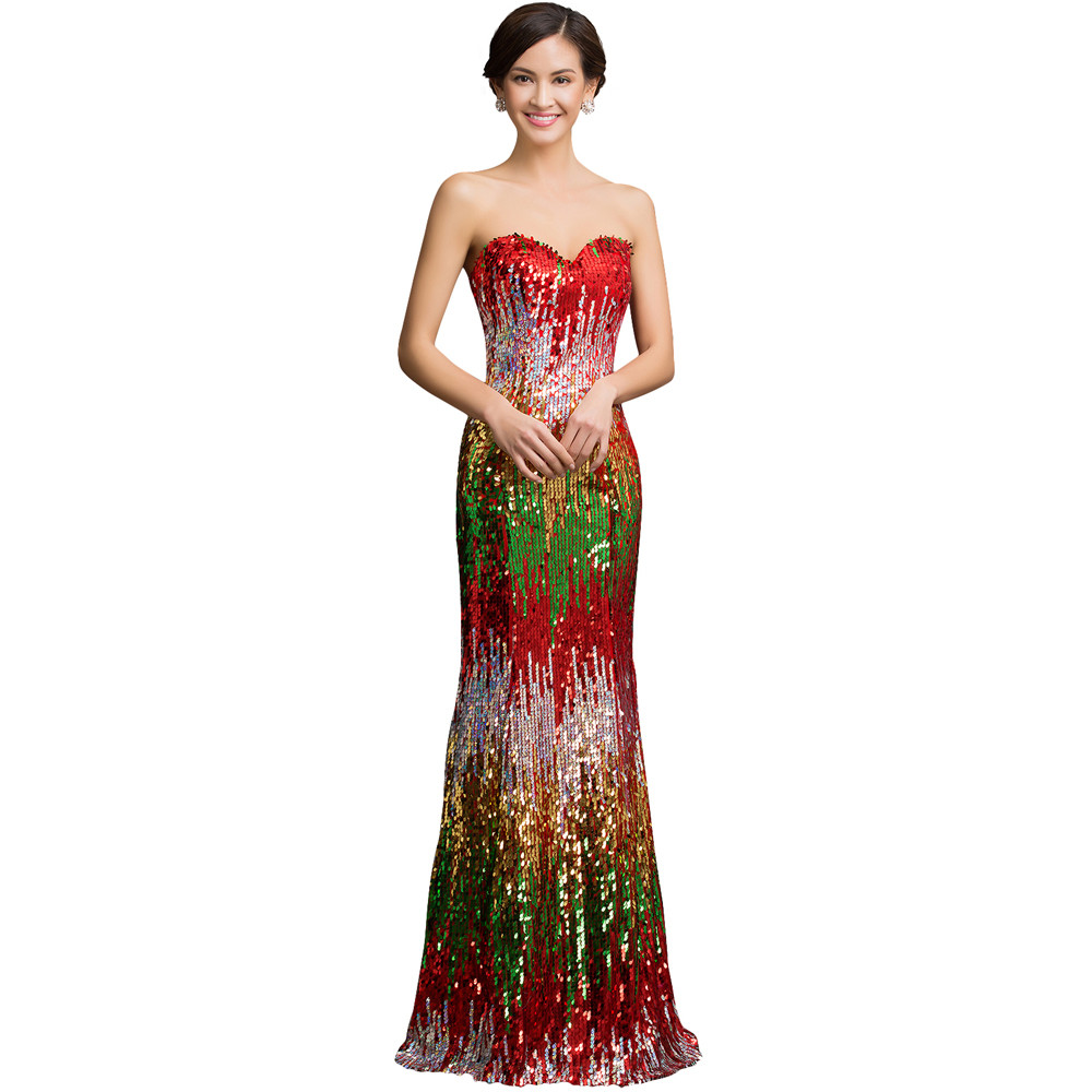 Sweetheart Colorful Sequins Lace Evening Dress 19