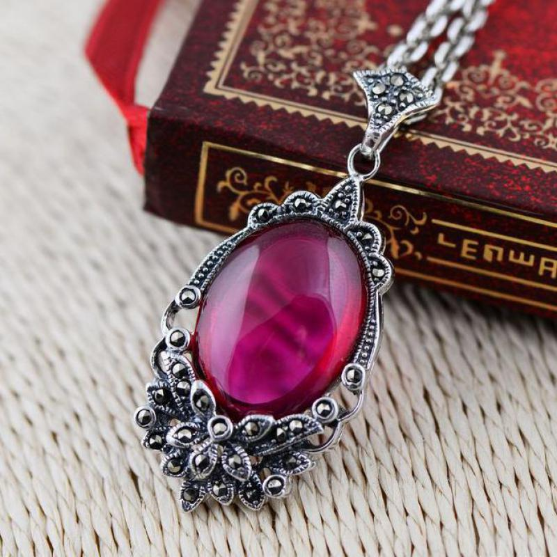 VINTAGE 925 STERLING SILVER 12MM NATURAL RED AGATE BEADS MARCASITE PENDANT