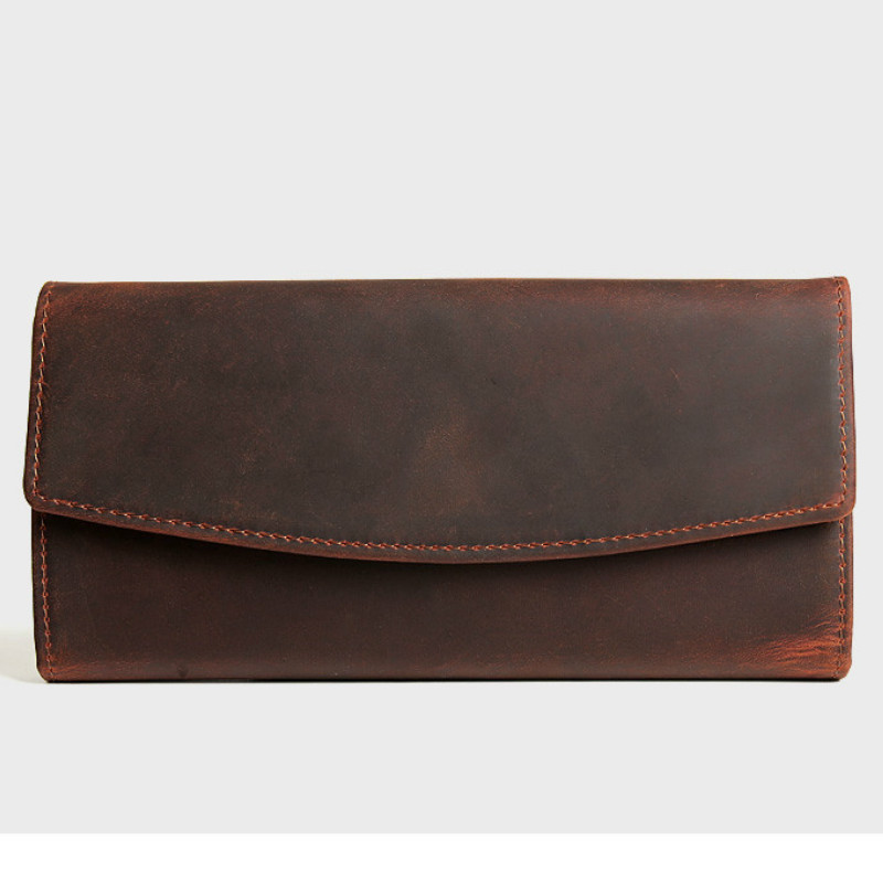 2018 Luxury Men Wallets Trifold Long Genuine Leather Purse Large Capacity Phone Bag Real Cowhide Women Day Clutches Bag Business