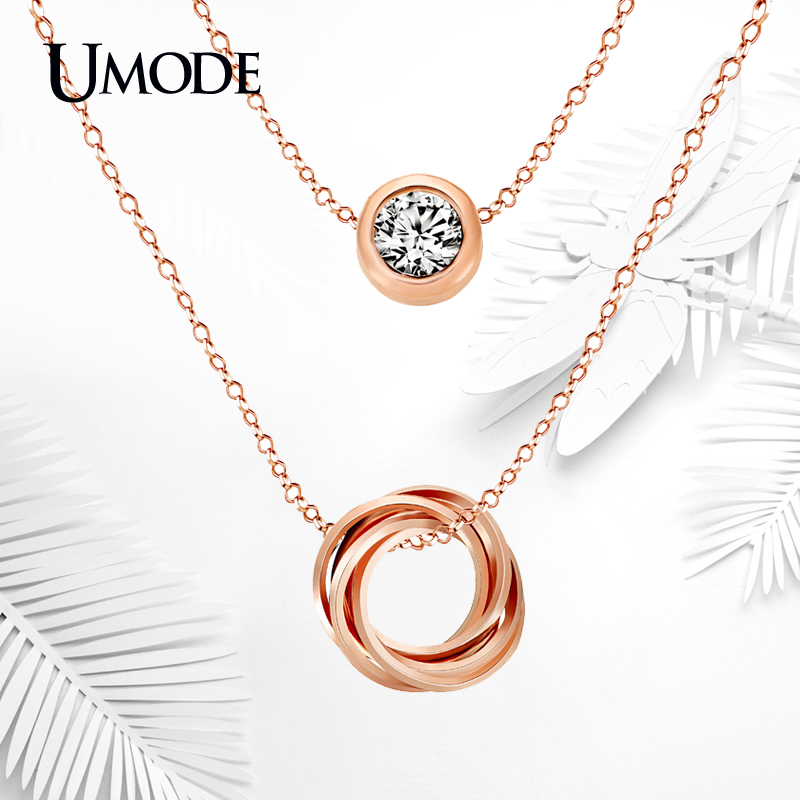 UMODE Brand Rose Gold Color Genuine Austrian Rhinestones Pendant Crystal Necklace For Women Fashion Jewelry Wholesale AUN0119A