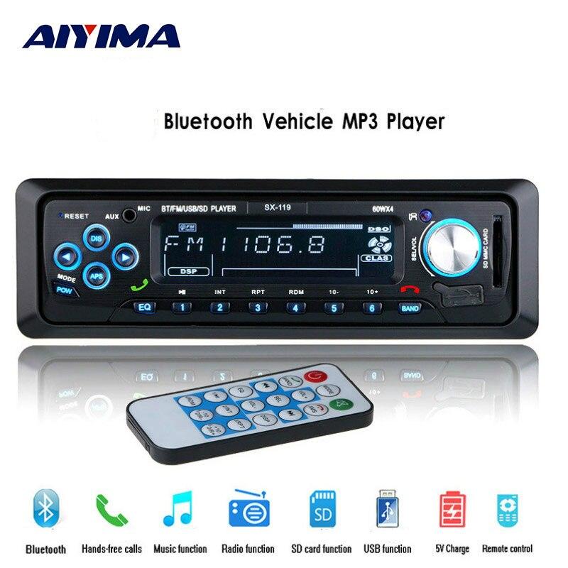 AIYIMA Mini Mp3 Player Bluetooth 12V FM Radio Mp3 Music Player Support Bluetooth USB/SD MMC Port Car Electronics In Dash 1 DIN