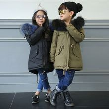 New Fashion Winter Boy Girls Coat Thicken Children High-end Cotton-Padded Clothes Fit 6-12 Years Old Fur collar Clothes HL0781