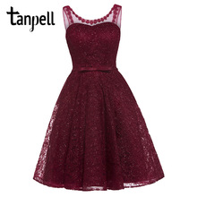 Tanpell lace homecoming dress dark navy appliques sleeveless mini a line gown cheap women v neck short formal homecoming dresses exquisite jewel sheath lace sleeveless short homecoming dress