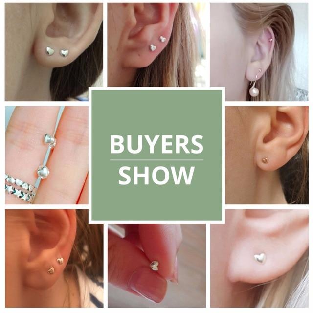 925 Sterling Silver  Hearts Stud Earrings for Women 5