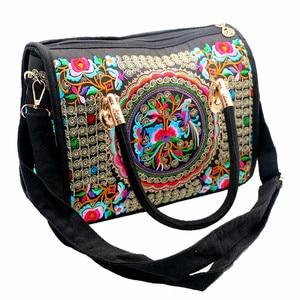 Image 3 - Bolsa feminina de lona, bolsa de ombro bordada floral étnica vintage de mensageiro