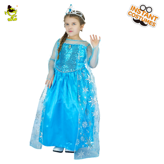 New Teen Snow Queen Girls Dresses Role Play Prom Party Elsa Dress For Kids Halloween