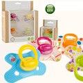 4 pcs Bebê Chupeta Chupeta Mamilo Quatro-dois estágios para Bebês Chupetas Engraçadas de Silicone Bebê Chupeta Mamilo Alimentação com um tampa