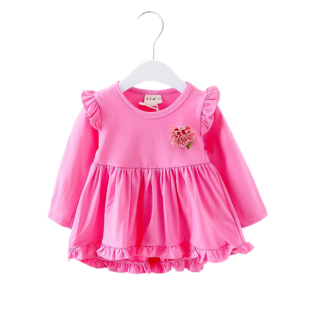e8c72796f1be Baby Girls Autumn Style Cotton Flower Dress Long Sleeve Irregular ...