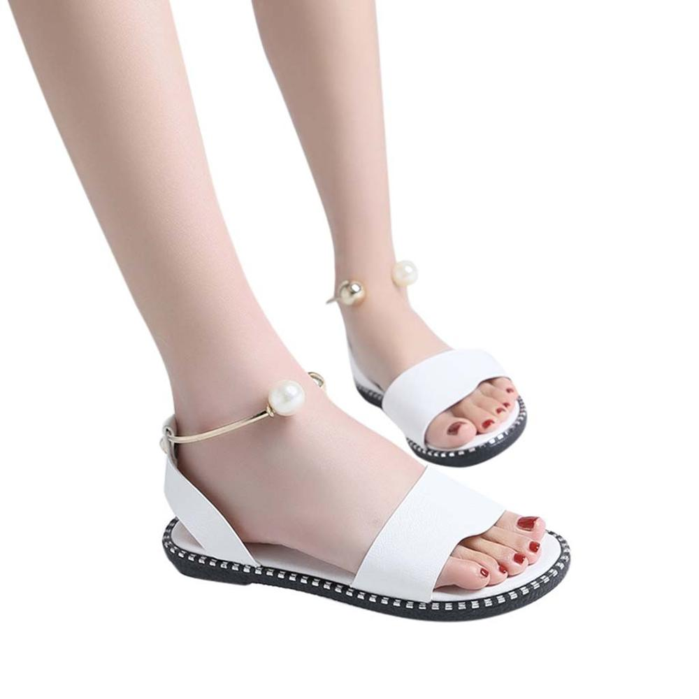 2019 Zapatos Mujer Fashion Rome Slip On Women Sandals Flip Flops Solid Round Toe Pearl Buckle