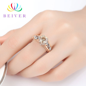 Beiver Romantic decorative pattern Rose Gold Ring High Quality AAA+ Champagne Cubic Zirconia Engagement Gift for Women