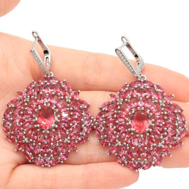 SheCrown Long Big Heavy 15.6g Pink Raspberry Rhodolite Garnet CZ Silver Earrings 57x35mm