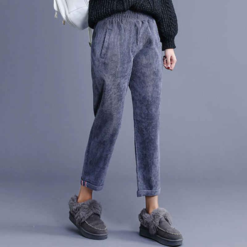 Herbst Winter Frauen Retro Cord Neun Hosen 2017 Neue Lose War Dünn Casual Harem Bördeln Damen Hosen Pantalon Femme WZ162