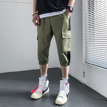 Safari Style Calf-Length Pants Multi-Pockets Patchwork Mens Elastic Waist Black Green