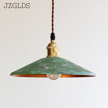 Loft american iron vintage small copper umbrella lamps pendant light single crystal glass pendant light