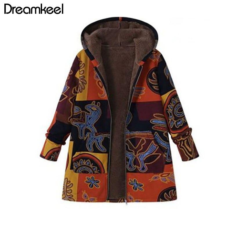 Winter Autumn Long Sleeve Basic Outerwear 2019 Plus SizeWomen Retro Hooded Ethnic Printed Faux Fluffy Thin Innrech Market.com