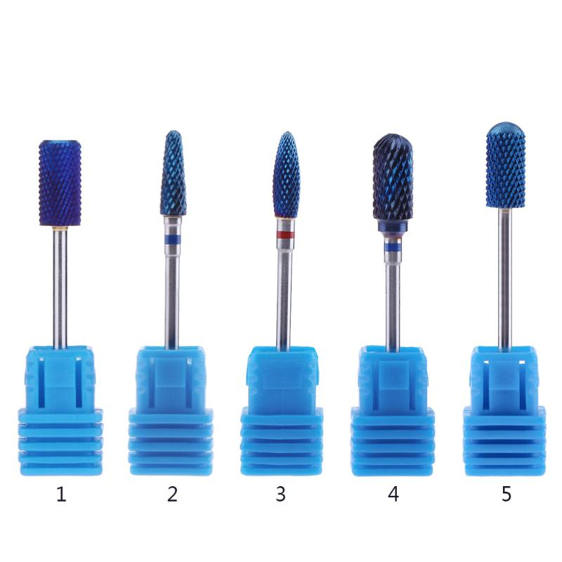 Single Blue Tungsten Carbide Nail drill bits Burrs Nano Coating Metal Drill Bits For Manicure Electric Nail Drill Accessories hot sale20 x tungsten steel solid carbide burrs for rotary drill die grinder carving