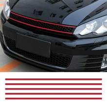 Front Hood Grille Decals Car Strip Sticker Decoration for VW Golf 6 7 Tiguan asy to stick and remove stickers car(China)