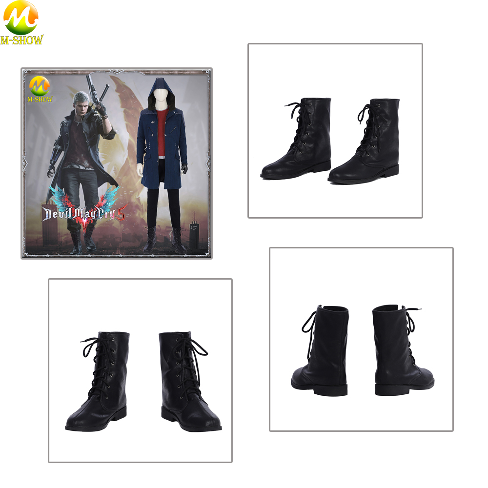 Men Black Boots Custom Game Devil May Cry 5 Cosplay Nero Shoes For Halloween Party