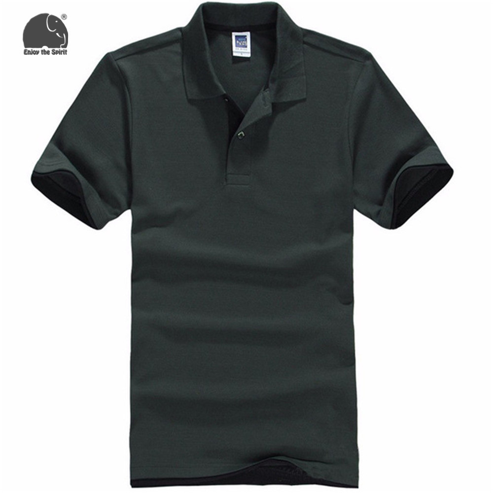 EnjoytheSpirit   Polo   Shirts Men's Army Green Solid Color Short-sleeve   Polo   Shirt Fashion Casual Style New Brand Male Clothes