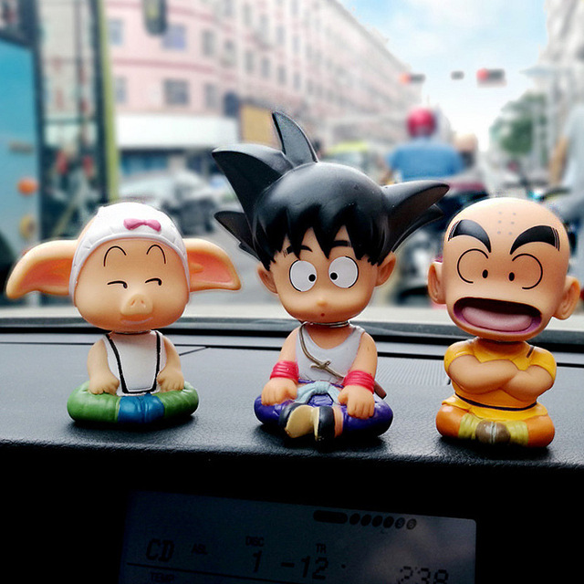 3 pcs Dragon Ball SON GOKU Kuririn Oolong Ornamento Do Carro Balançando Balançando A Cabeça Da Boneca Bonito Bobblehead Toy Japão Dos Desenhos Animados Decoração de Interiores
