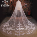 Fashion Long Lace Cathedral Wedding Veil With Crystal Veu De Noiva Longo Real White/Ivory Applique Flowers Bridal Veils WB44