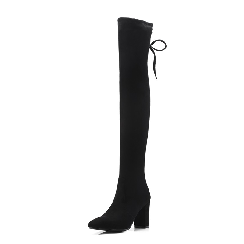 Bout Haute Date Super Hiver grey Bottes Femmes Taille Troupeau Egonery  Grand Chaussures Carré Dentelle up Sur Talon Chaud De Pointu Genou Black Mode  Sexy ... a82e261a9da6