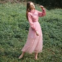 LYNETTE'S CHINOISERIE Spring Autumn Original Design Women Maiden Vintage Embroidery Mesh Skirts