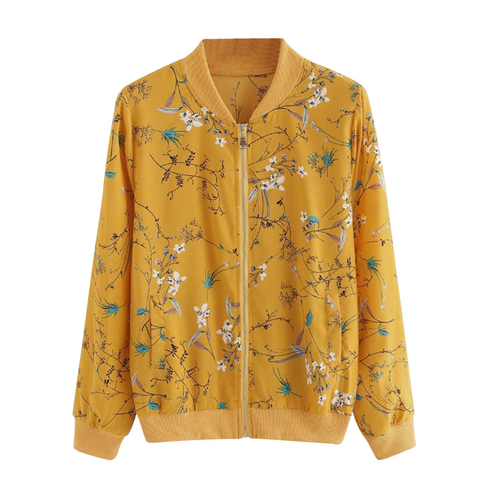 Women Coat Retro Floral Print Zipper Up   Jacket   Casual Coat Autumn Long Sleeve Outwear Women   Basic     Jacket   Bomber Famale