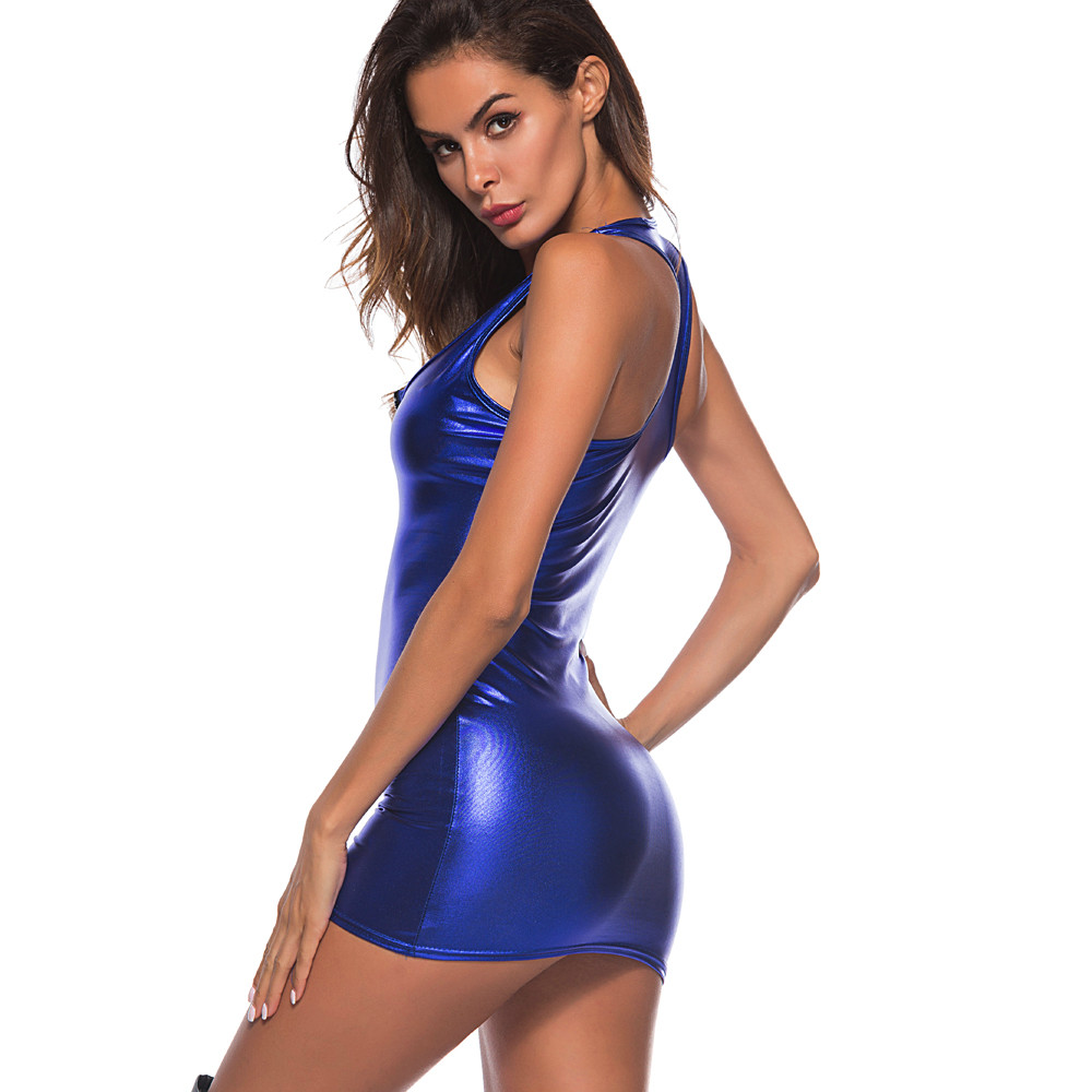 HTB1P0UCFeGSBuNjSspbq6AiipXau Women Dress Womens Clothing Artificial Leather Bodysuit Zipper Mini Dress Ladies Tank V Neck Club WeaBodycon Midi Dresses #YL