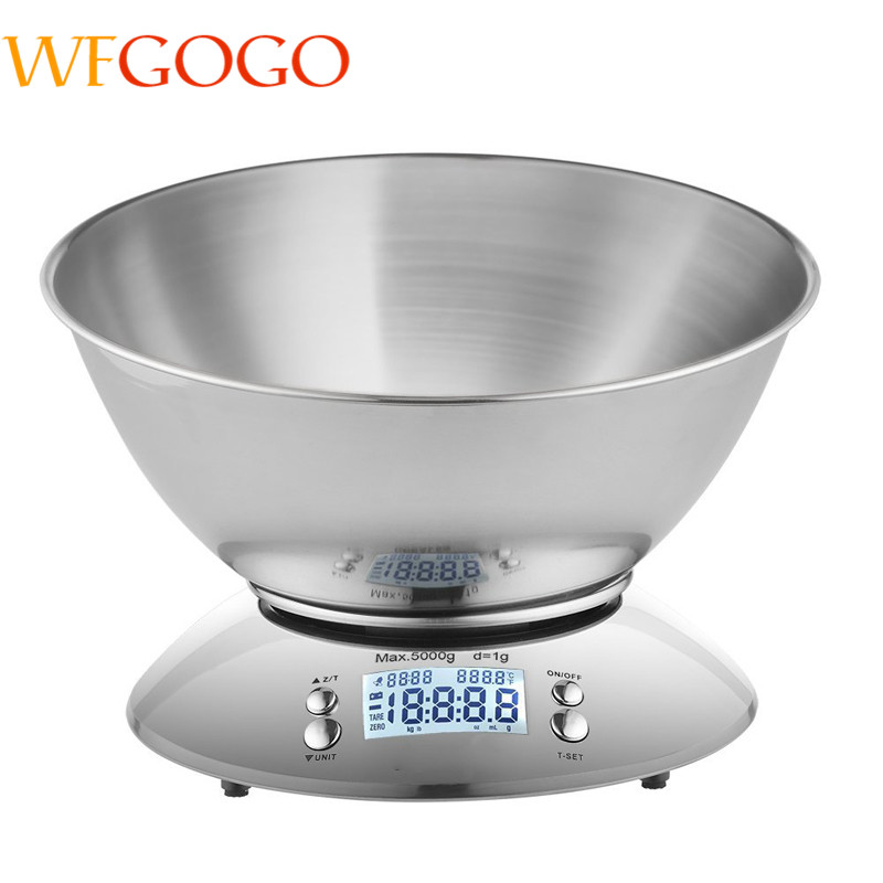 WFGOGO Digital Kitchen Scale 5kg/1g Accuracy Food Scale Stainless Steel Bowl 2.15L,Alarm Timer,Temperature,Backlight LCD Display